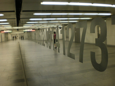 Cifras de π en una estación del metro de Viena