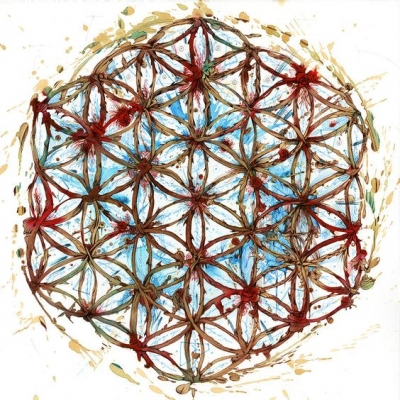 """Diseño geométrico """"Flor de la vida"""" realizado con té y tinta"""