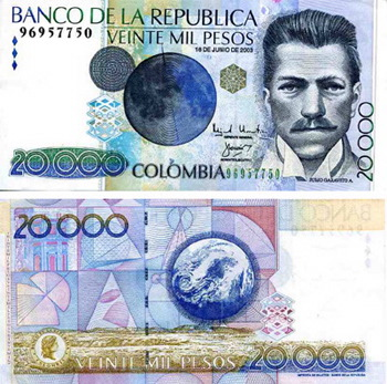 Billete de Colombia (20.000 pesos)