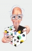 Caricatura de Martin Gardner cedida por Jim Gardner